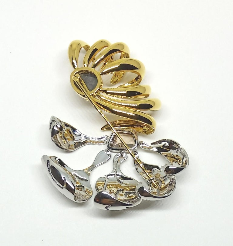 One of a Kind Black Brown Rose Cut Diamond Yellow White Gold Brooch For Sale 4