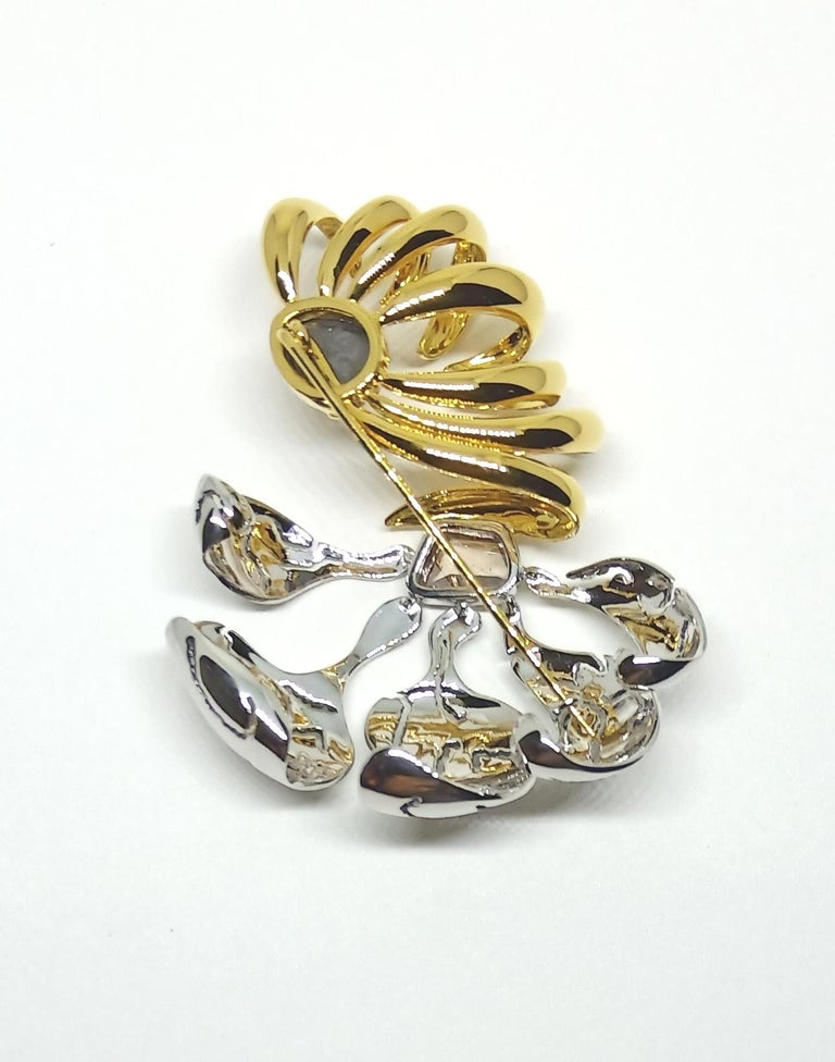 One of a Kind Black Brown Rose Cut Diamond Yellow White Gold Brooch For Sale 5