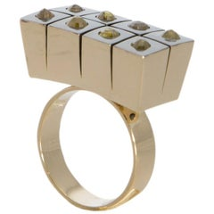 One of a Kind Dark Orange Rose Cut Diamond 18 Karat Yellow Gold Ring