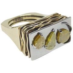 One of a Kind Orange Yellow Diamond Slices 18 Karat Gold Ring