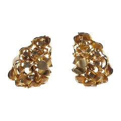 Rohit Jain One of a Kind Round White Diamond 18 Karat Yellow Gold Clip Earrings