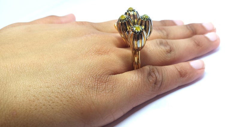 One of a Kind Yellow Black Rose Cut Diamond Yellow Gold Cocktail Ring For Sale 10