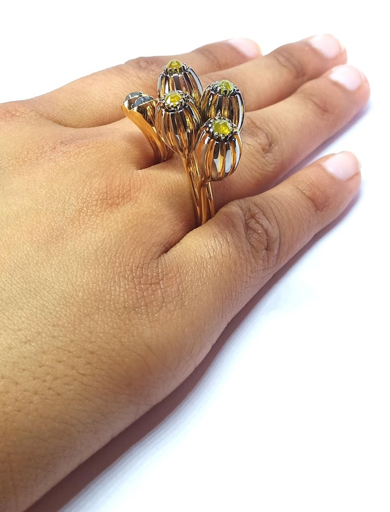 One of a Kind Yellow Black Rose Cut Diamond Yellow Gold Cocktail Ring For Sale 11