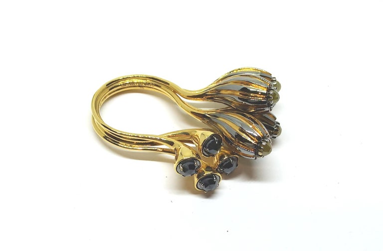 Contemporary One of a Kind Yellow Black Rose Cut Diamond Yellow Gold Cocktail Ring For Sale