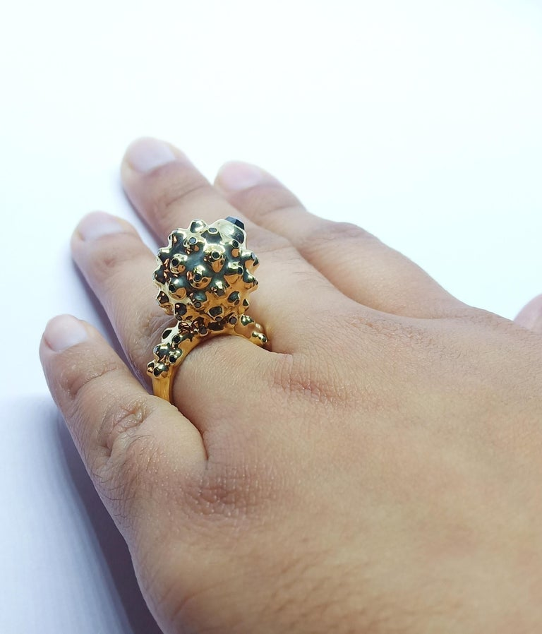 One of a Kind Round Black Diamond  18 Karat Yellow Gold Dome Ring For Sale 4