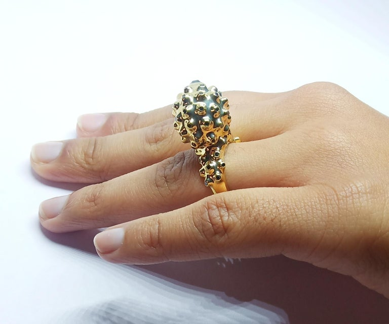 One of a Kind Round Black Diamond  18 Karat Yellow Gold Dome Ring For Sale 5