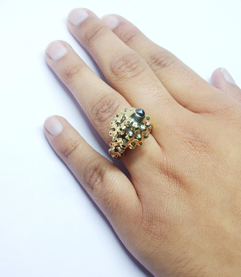One of a Kind Round Black Diamond  18 Karat Yellow Gold Dome Ring For Sale 6