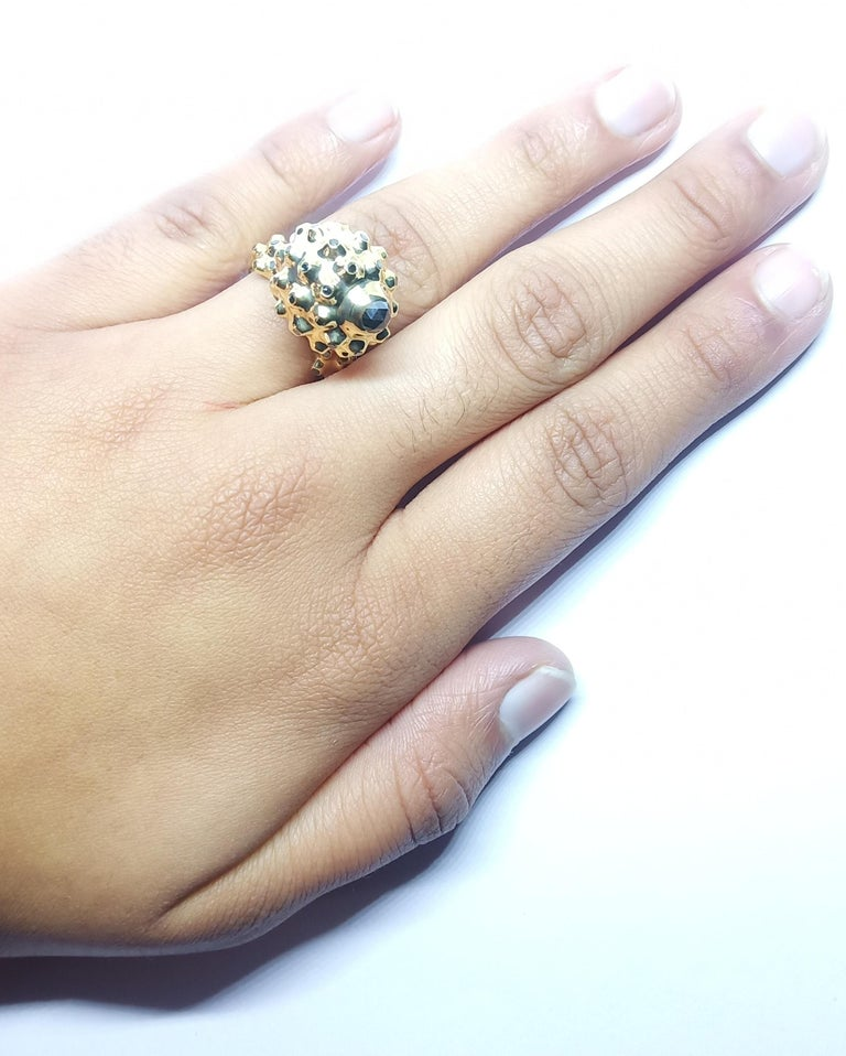 One of a Kind Round Black Diamond  18 Karat Yellow Gold Dome Ring For Sale 7