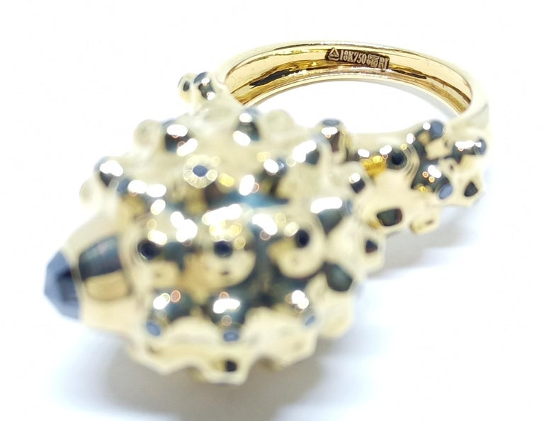 Women's One of a Kind Round Black Diamond  18 Karat Yellow Gold Dome Ring For Sale