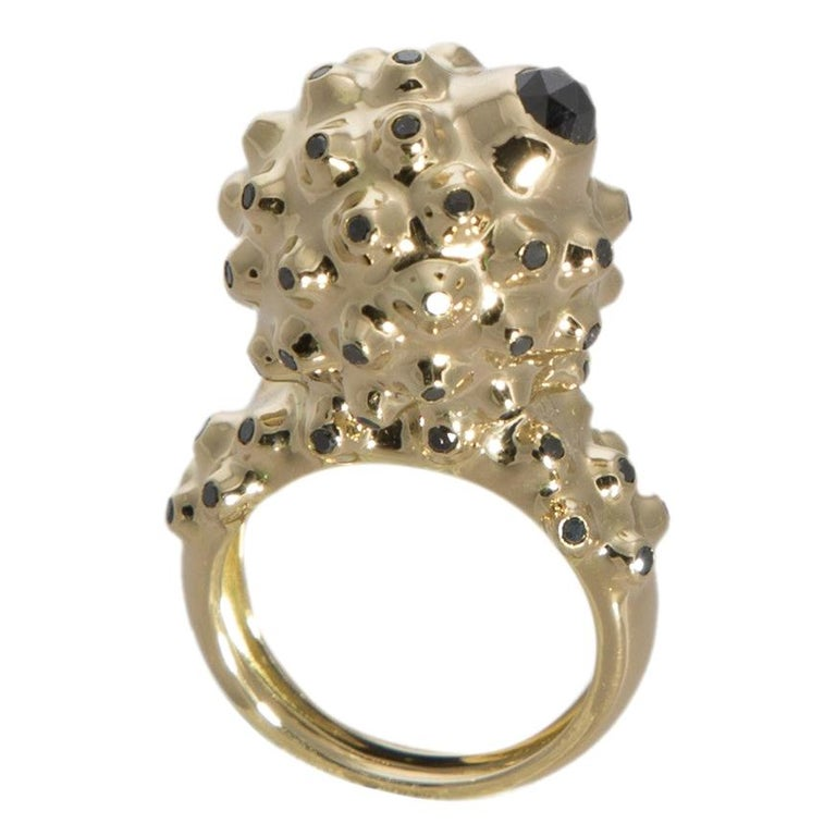 One of a Kind Round Black Diamond  18 Karat Yellow Gold Dome Ring For Sale