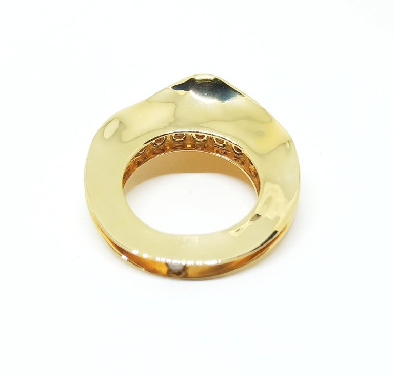 Women's Contemporary Brown Diamond One of a Kind 18 Karat Yellow Gold Cocktail  Ring For Sale