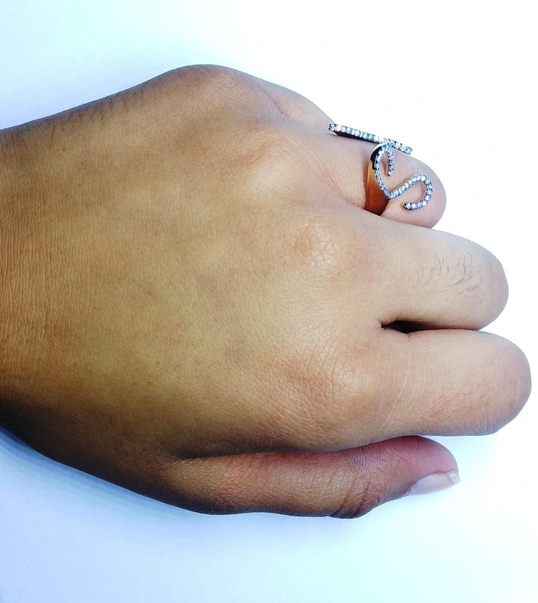 One-of-a-Kind Round White Diamond 18 Karat Rose Gold Engagement Ring For Sale 7