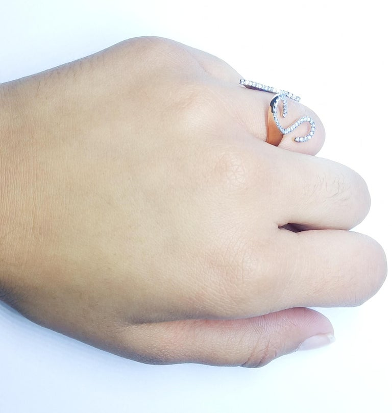 One-of-a-Kind Round White Diamond 18 Karat Rose Gold Engagement Ring For Sale 9