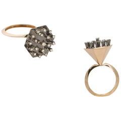 Round White Diamond 18 Karat Yellow Gold One of a Kind Ring