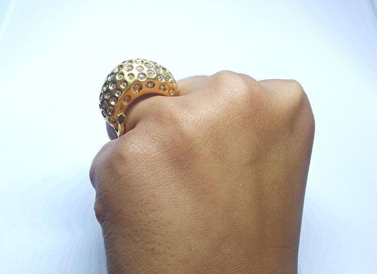 Contemporary Round White Diamond One of a Kind Yellow Gold Cocktail Ring For Sale 7