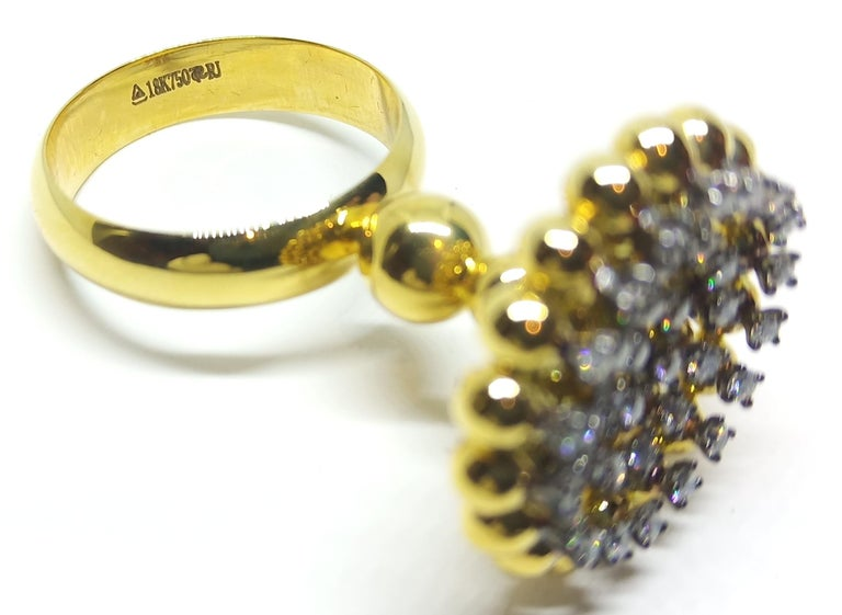 Women's Round White Diamond One of a Kind 18 Karat Yellow Gold Ring For Sale