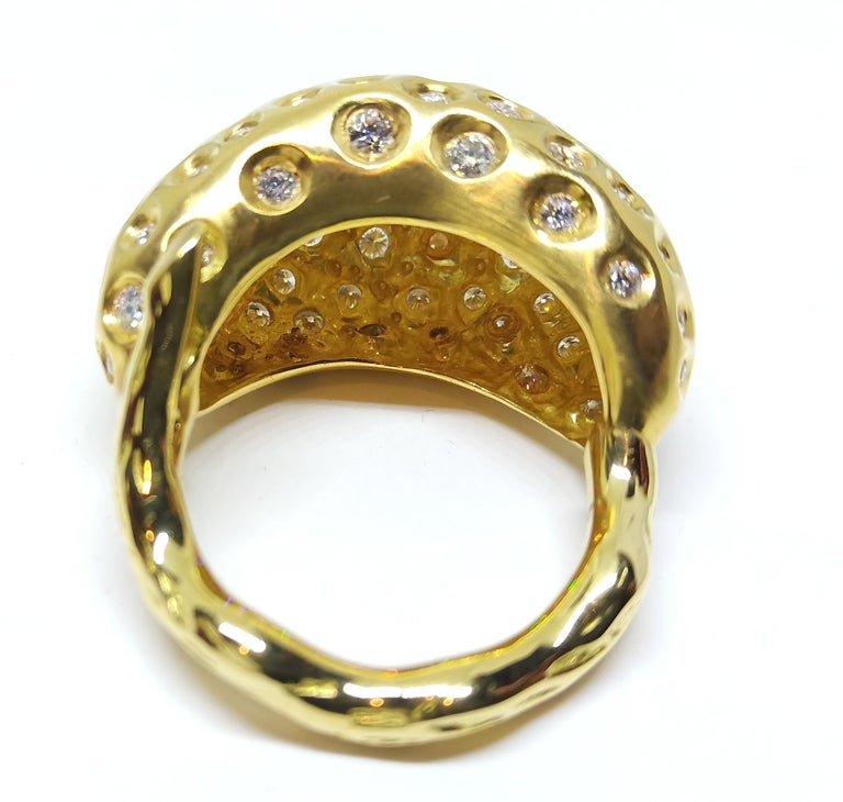 Contemporary Round White Diamond One of a Kind Yellow Gold Cocktail Ring For Sale 2