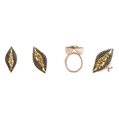 Yellow Dark Brown Rosecut Diamond One of a Kind Ring in Yellow Gold