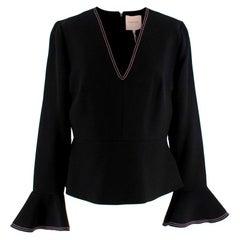 Roksanda Black & Pink Bell Sleeve Top - Size XL US12