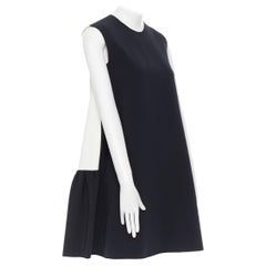ROKSANDA black sleeveless contrast white back panel pleated skirt boxy dress UK6