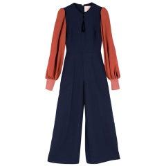 Roksanda Blue Aunya Two-tone Crepe Jumpsuit SIZE UK 8