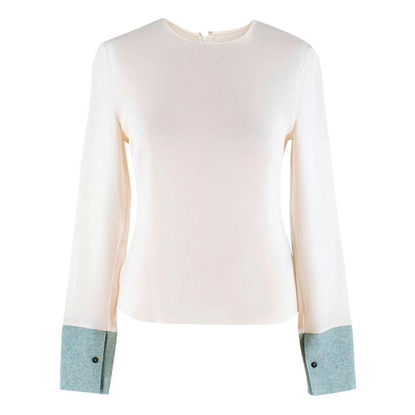 Roksanda Faille-Paneled Silk-Jersey Top - Estimated Size M