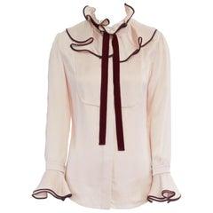ROKSANDA hammered silk purple victoria ruffle velvet bow flared bell shirt UK6