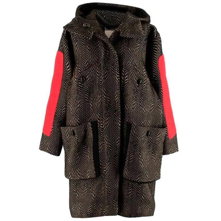 Roksanda Ilincic Black & Brown Chevron Hooded Coat  US4