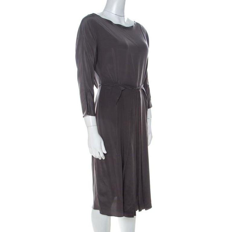 Black Roksanda Ilincic Gunmetal Grey Silk Pleated Skirt Backless Midi Dress M For Sale