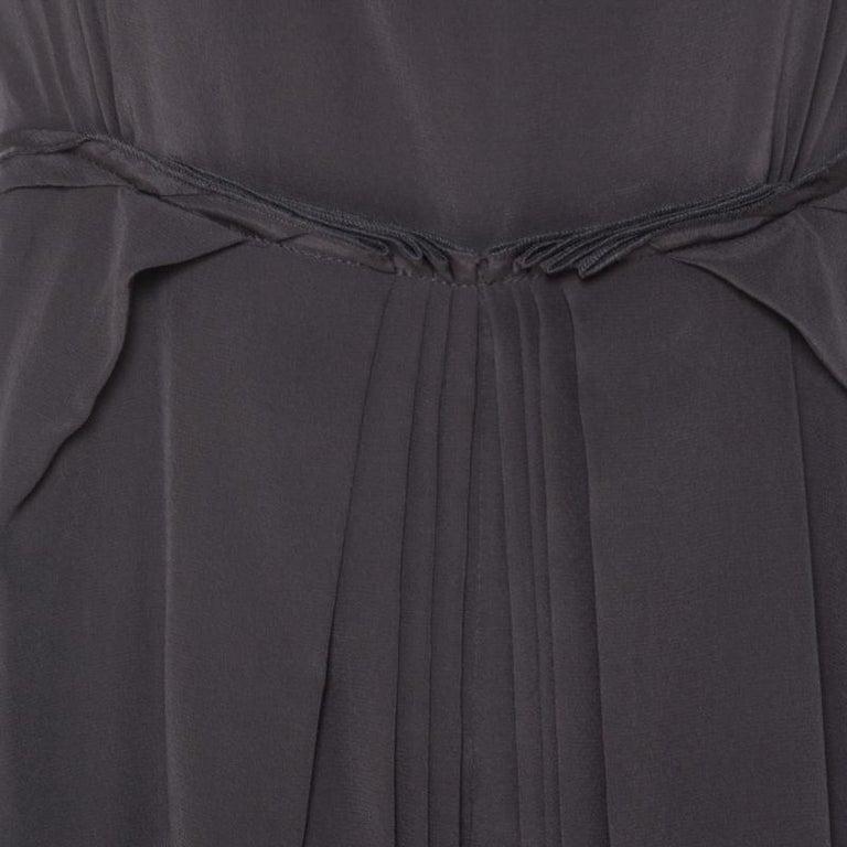 Women's Roksanda Ilincic Gunmetal Grey Silk Pleated Skirt Backless Midi Dress M For Sale