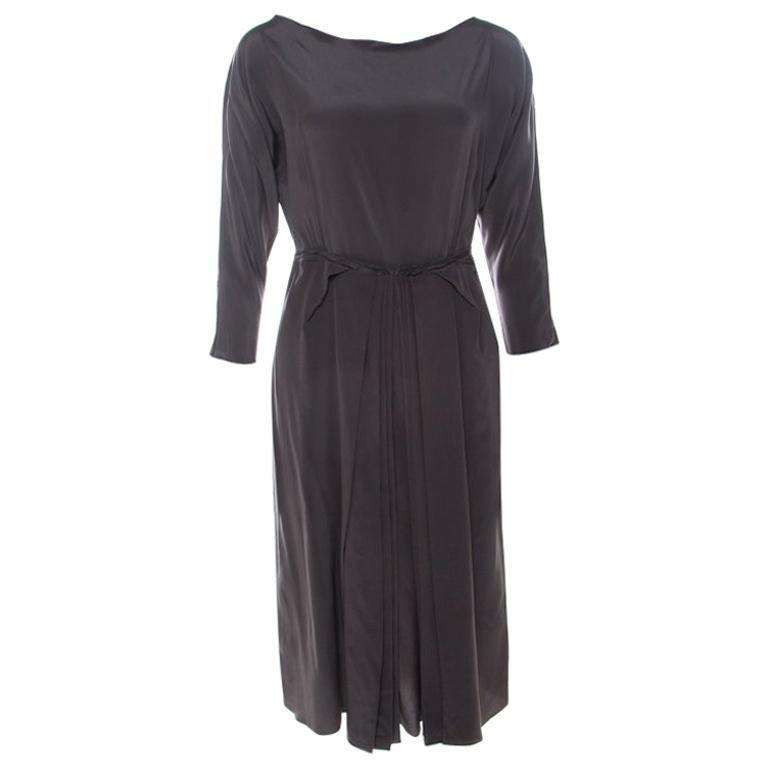 Roksanda Ilincic Gunmetal Grey Silk Pleated Skirt Backless Midi Dress M