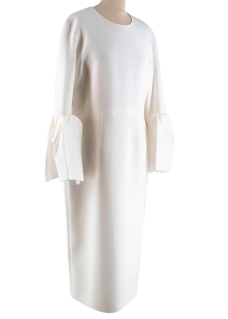 Roksanda Margot Ivory Bell-Cuff Cady Dress  - Slim shape with a round neck - Three quarter length sleeves that end in basket-weave bell cuffs - a label signature - Single vent - Centre-back gold-tone zip fastening  Materials: 50% polyester, 37%