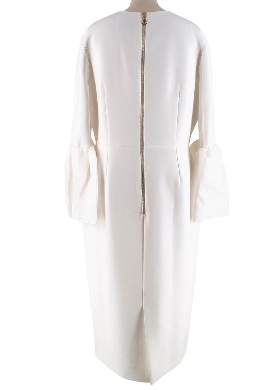 Gray Roksanda Margot Ivory Bell-Cuff Cady Dress - US size 12 For Sale