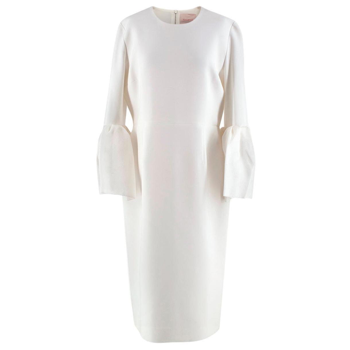 Roksanda Margot Ivory Bell-Cuff Cady Dress - US size 12