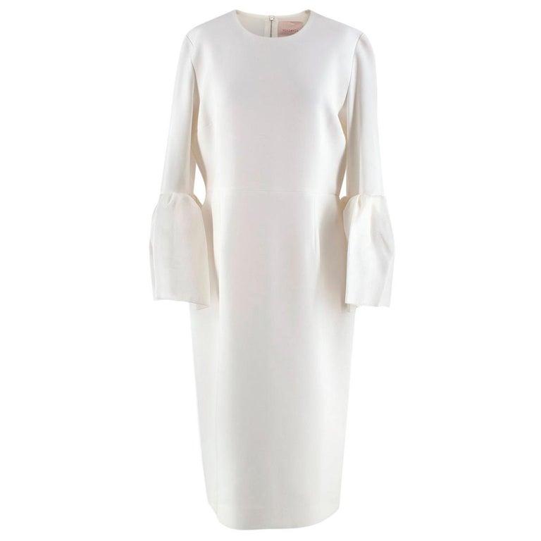 Roksanda Margot Ivory Bell-Cuff Cady Dress - US size 12 For Sale