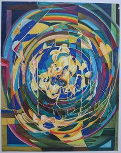 Improvisation abstract African-American artist painting.