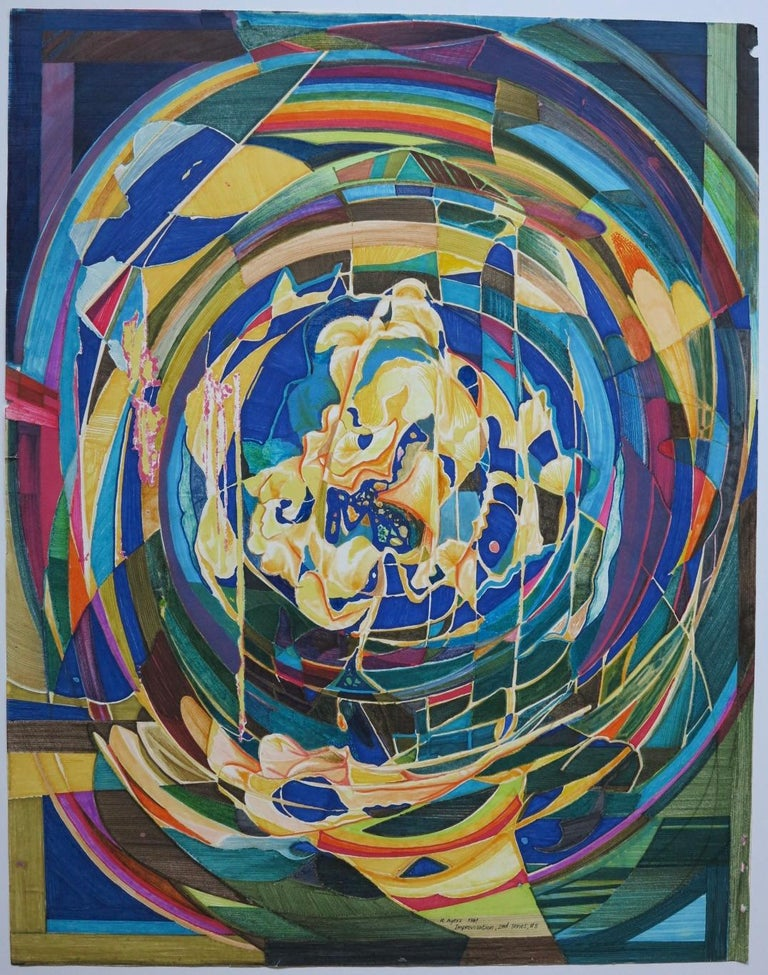 Roland Ayers Abstract Painting - Improvisation abstract African-American artist painting.