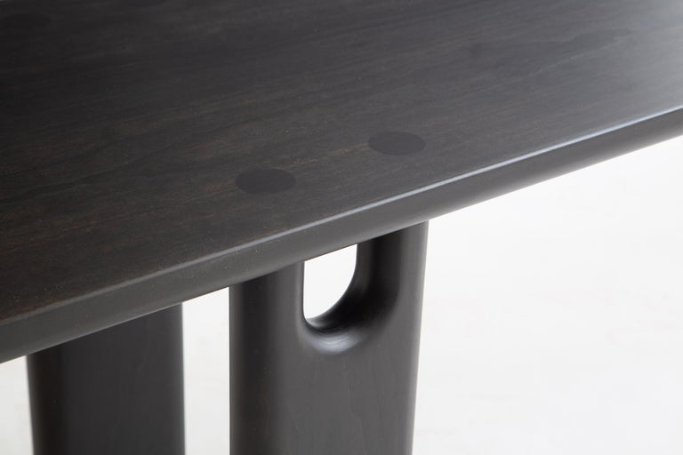 The Roland bench is built by hand in our Brooklyn studio using premium solid hardwoods. Simple and sturdy, the bench highlights its unique double tenon joinery with the shaped legs. Sized for a standard dining bench, it also well suited as a coffee