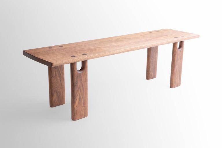 Scandinavian Modern Roland Bench, Solid Walnut, Customizable For Sale