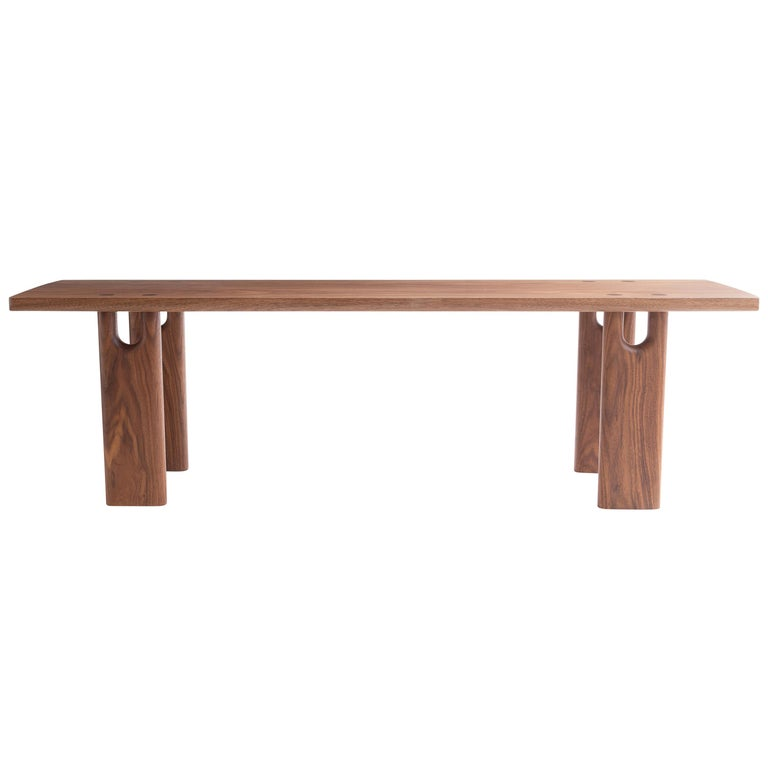 Roland Bench, Solid Walnut, Customizable For Sale