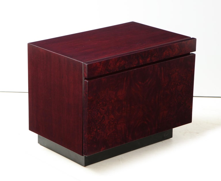 American Roland Carter Red Wine Stained Burl Nightstands For Sale