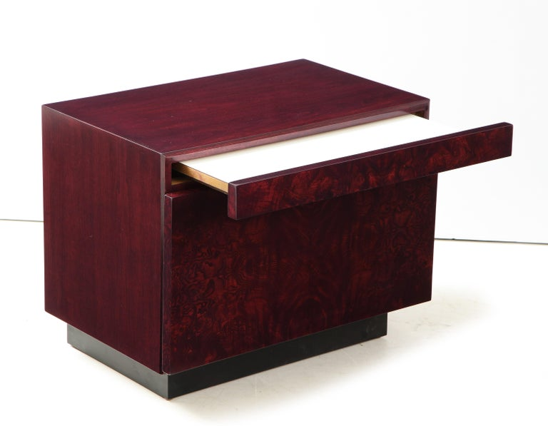 Roland Carter Red Wine Stained Burl Nightstands For Sale 1