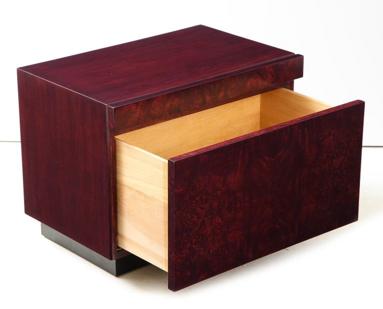 Roland Carter Red Wine Stained Burl Nightstands For Sale 2