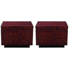 Roland Carter Red Wine Stained Burl Nightstands
