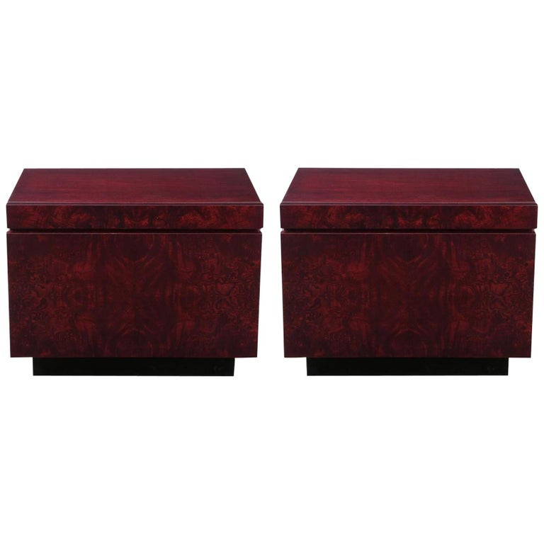 Roland Carter Red Wine Stained Burl Nightstands For Sale