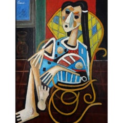 "Roland Chanco '1914-2017', Painting ""Woman with Rocking Chair"", 2000"