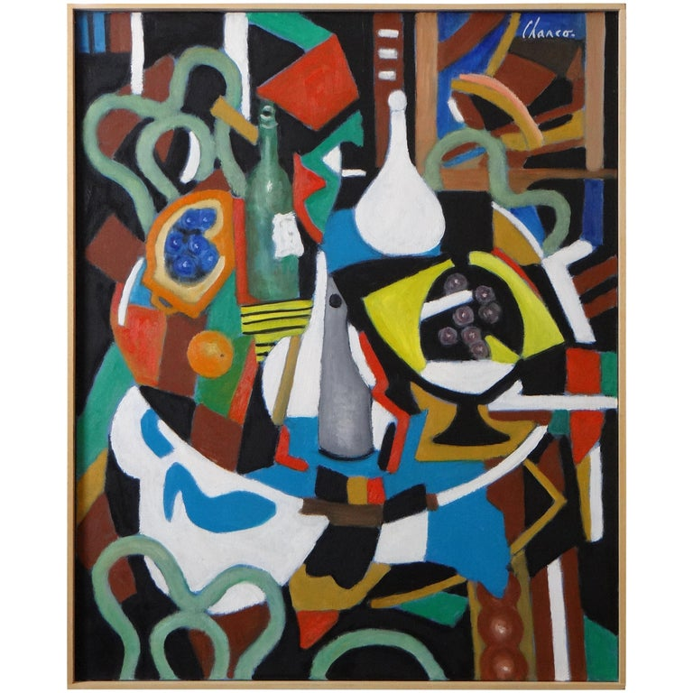 "Roland Chanco Painting ""Coupe Jaune et Carafe Blanche"", 2000 For Sale"