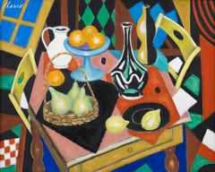 Colourful Abstract Still Life Painting 'Nature More aux Fruits' by Roland Chanco