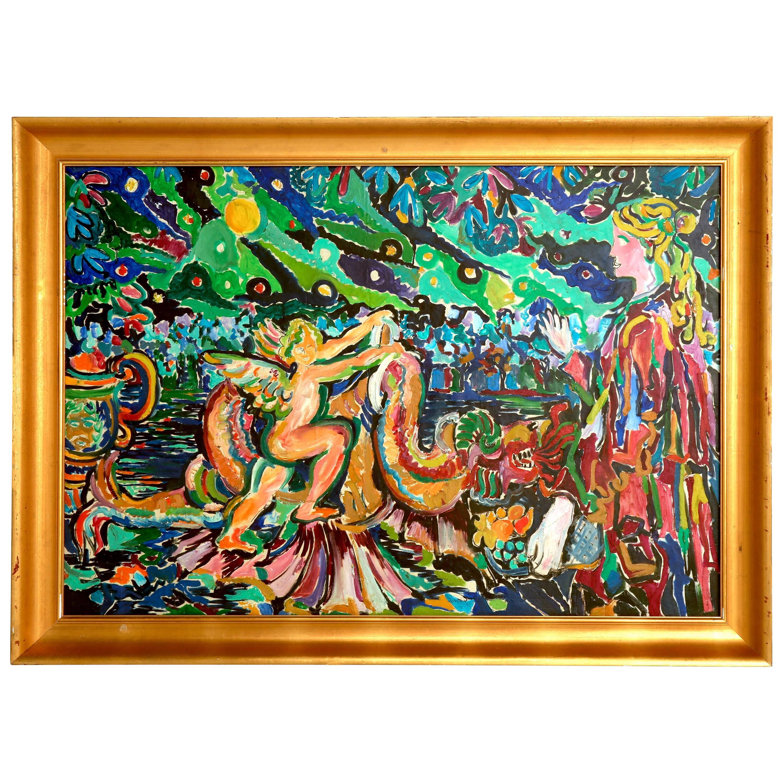 Roland David Original Oil Painting on Canvas, 1965