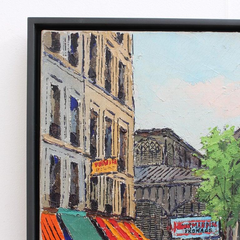 Les Halles Food Market - Gray Landscape Painting by Roland Hamon